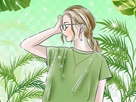女人穿著綠色的背景