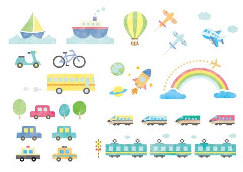 交通工具套裝_交通3水彩