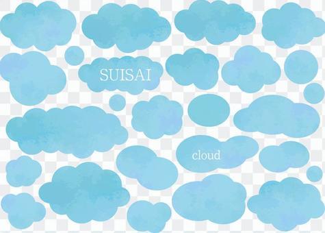 雲彩水彩氣球