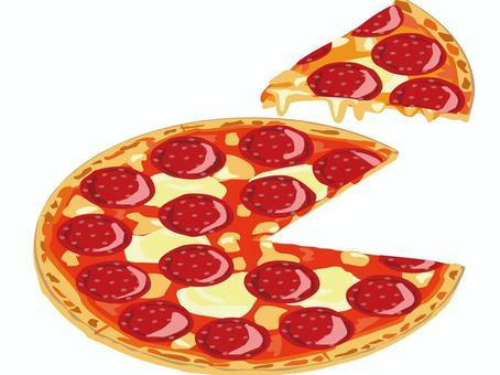 チーズとサラミのディアボラピザのイラスト