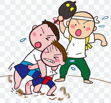 兒童和相撲摔跤兒童相撲