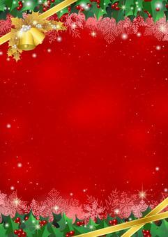 柊フレームのクリスマス背景赤タテ