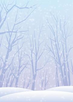 雪景色、背景、A4縦、塗足付
