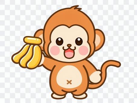 猴子拿著香蕉的插圖素材