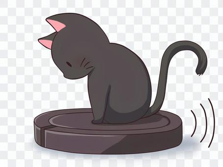 貓騎著機器人吸塵器(黑色)