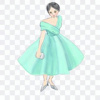 翠綠色的裙子的女人