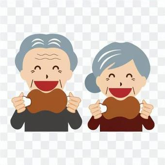Elderly people with a strong appetite (grandparents)