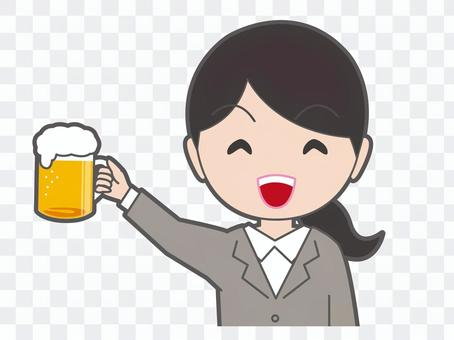 Cheers with beer Young lady