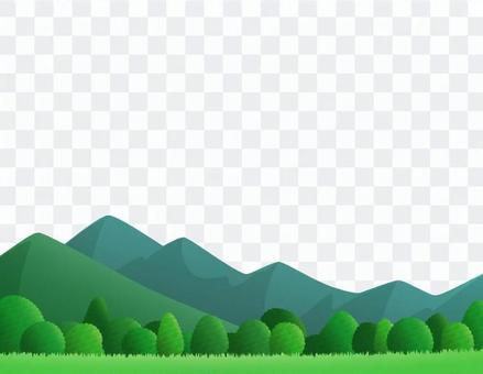 Mountain, tree and sky landscape