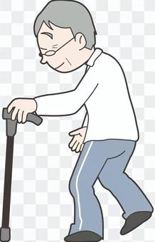 Grandfather with a cane