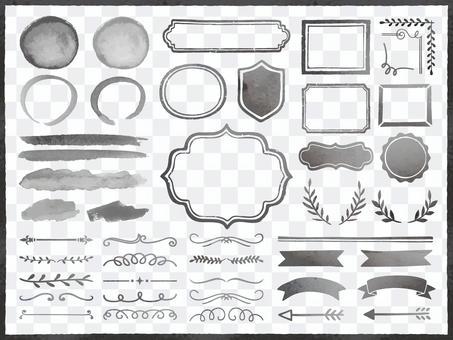 水彩畫框和裝飾格紋/裝飾性(墨水)
