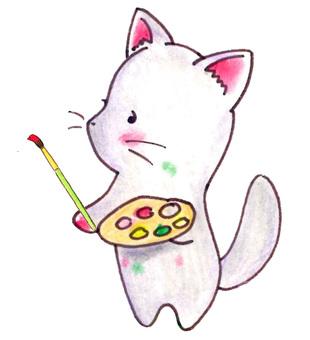 小貓用畫筆劃畫