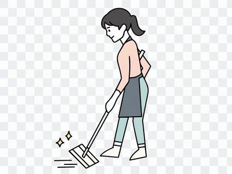 フロアワイパーをかける女性