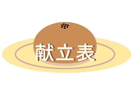 Menu table Anpan on a plate