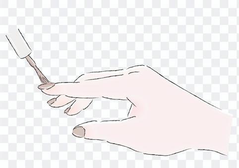 マニキュアを塗る手茶色イラスト