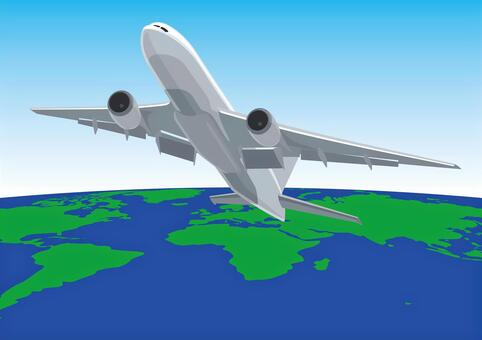 Jet plane flying in the world sky