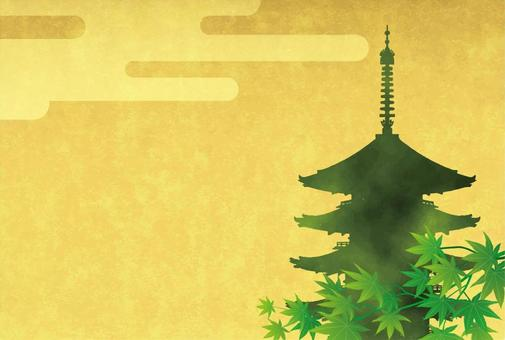 Fresh green and five-storied pagoda 2