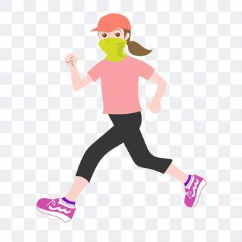 マスクをしてジョギングする女性-2