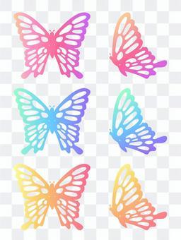 粉色和淺藍色,黃色燕尾蝴蝶(無線條)