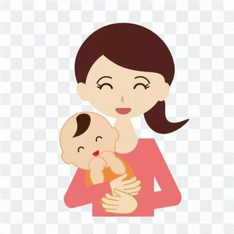 Laughing mom and baby