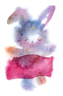 小睡兔子蓬鬆透明水彩手繪