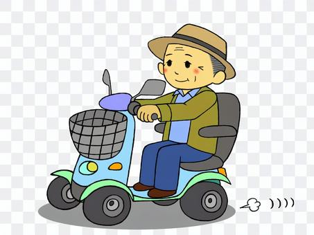 Grandpa going out with an electric cart