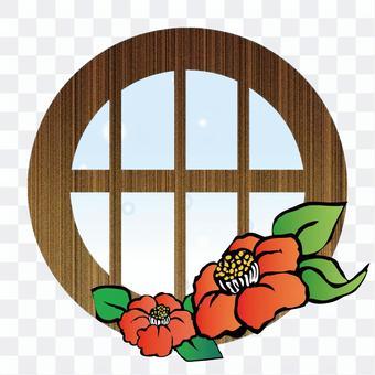 茶花和窗戶
