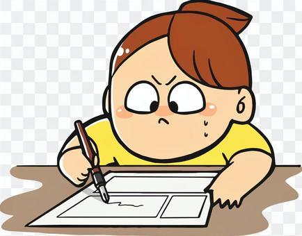 漫画を描いている女性