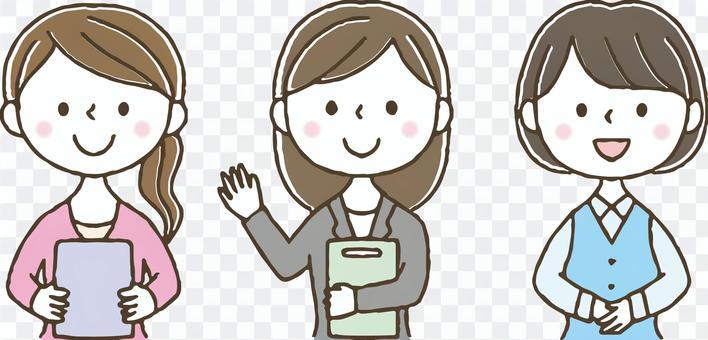 かわいい手描きのOLセット/女性社員