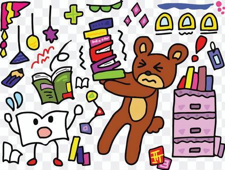 一隻熊,有很多書,表情很痛苦