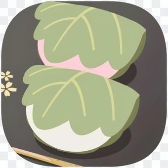 桜餅(お盆あり) ワンポイントイラスト