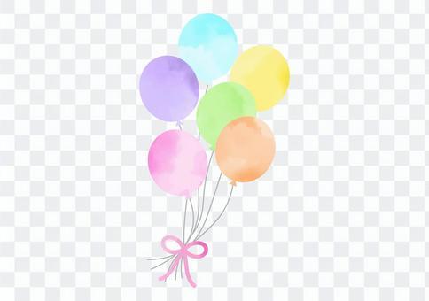 水彩氣球多彩