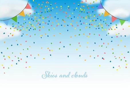 簡單的藍天和五彩紙屑背景圖