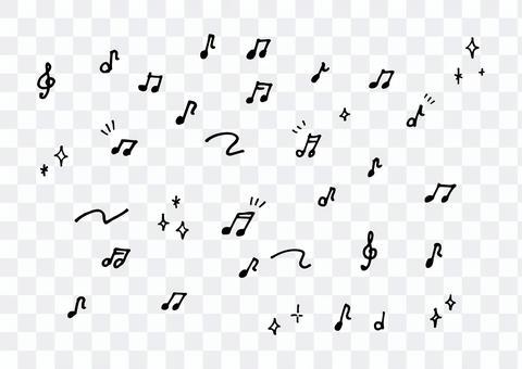 手描きの音符セット