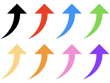向上翹曲上升箭頭圖標集: 多彩