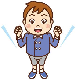I will hang on! Elementary school students, boys, uniforms