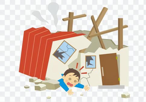一個因房屋倒塌而躺下的人