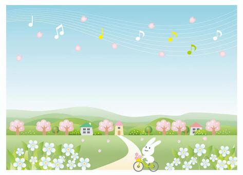 櫻花風景和騎自行車