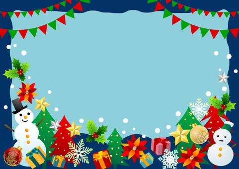 聖誕節項目相框藍色水平