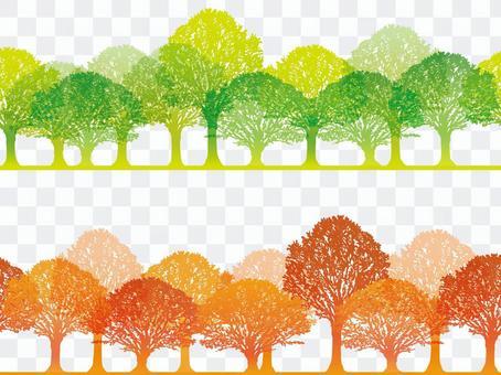 無縫四季森林3春季和秋季
