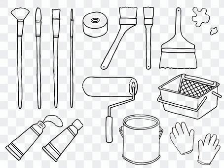 顏料和畫筆的插圖(線條藝術)