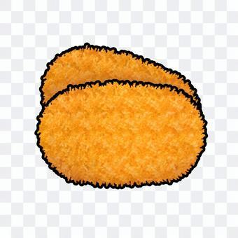 兩塊炸丸子(帶輪廓線)