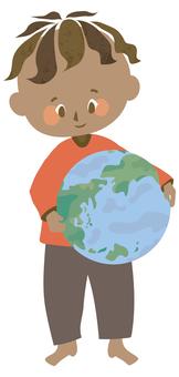 Globe and children