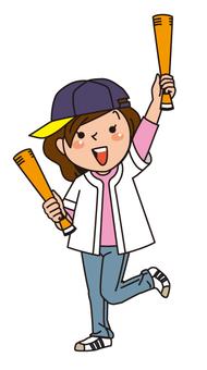 Baseball game, girl