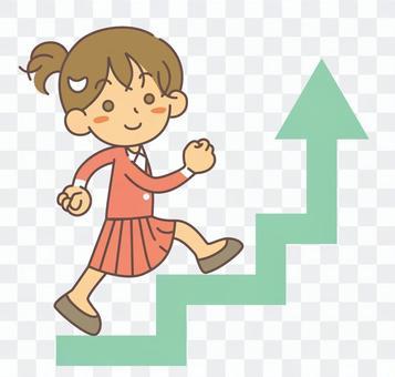 一個女人走上樓梯