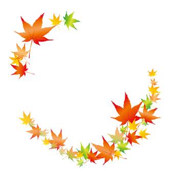 Frame of autumn leaves Circular background transparent