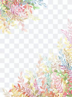 Multicolored botanical frame vertical composition