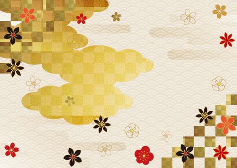日本圖案和金箔雲背景 2870