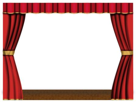 Red curtain curtain stage curtain frame