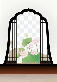 An ancient lotus peeps through the fireplace window